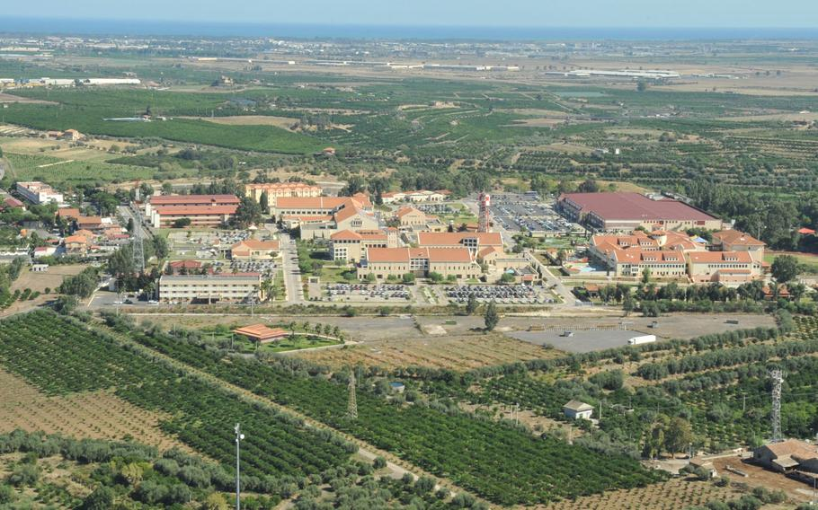 A view of NAS I, one of Naval Air Station Sigonella's two sites in eastern Sicily. A sailor stationed at the base went missing off the coast of Sicily on Saturday. Remains have been found but not positively identified as of Tuesday morning, Feb. 2, 2021.