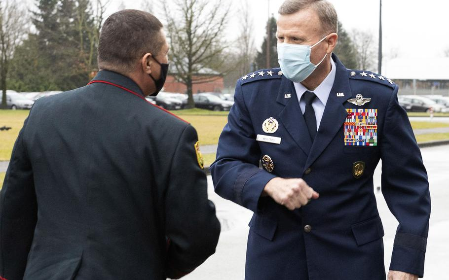 U.S. European Command's Gen. Tod D. Wolters welcomes Moldovan defense chief Brig. Gen. Igor Gorgan to Supreme Headquarters Allied Powers Europe at Mons, Belgium, Jan. 28, 2021. Wolters said Wednesday, Feb. 3, that previous administration's proposal to move 12,000 service members out of Germany will be reexamined.