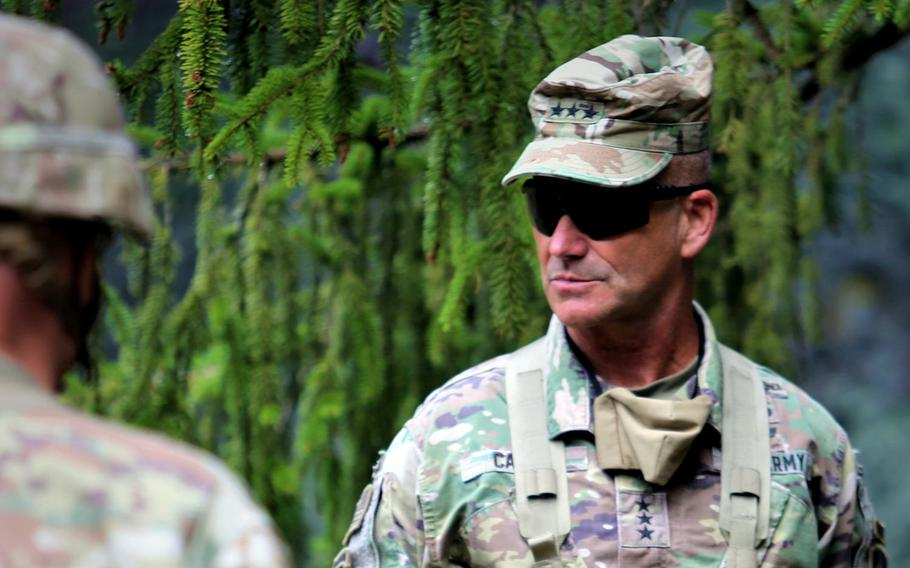Then-Lt. Gen. Christopher Cavoli meets with U.S. Army troops  at the Hohenfels training area, Germany, in August 2020. Now a 4-star general, the commander of U.S. Army Europe and Africa said in a speech on Weds., Feb. 3, 2021, that the more long-range artillery and other advanced weaponry are needed in Europe to allow the U.S. and its allies to take on enemy forces in the event of a major conflict.