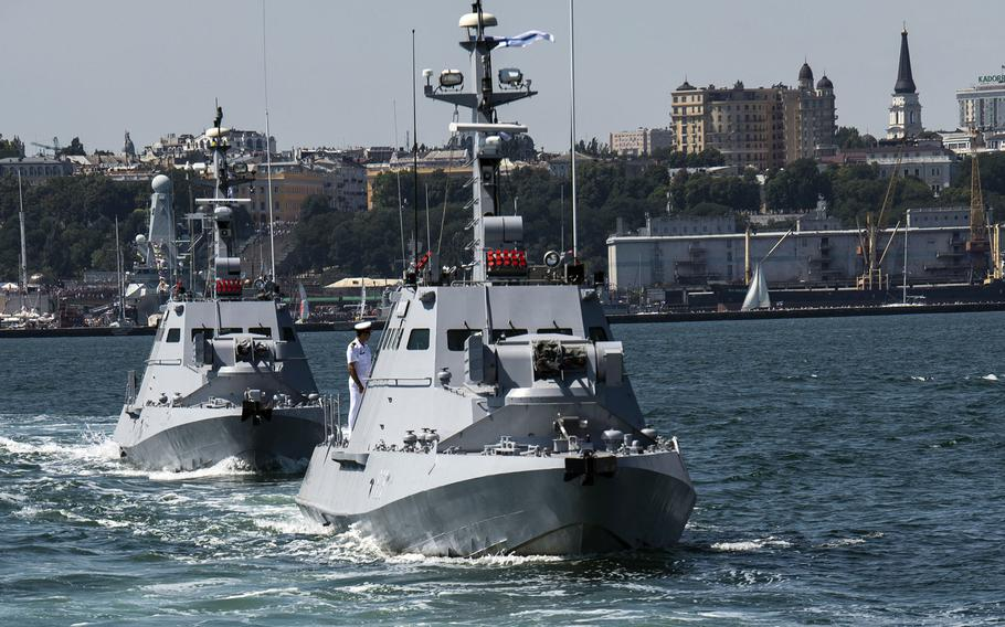 Patrol boats participate in Ukrainian Navy Day, in Odessa, Ukraine,  in July 2019. Ukraine is planning two new naval bases in the Black Sea region, Prime Minister Denys Shmyhal said at NATO headquarters in Brussels, Feb. 9, 2021.