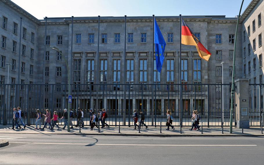 The Federal Finance Ministry building in Berlin. The ministry said this week that the treaty allowing U.S. forces to operate in the country protects American troops from being forced to pay German income taxes.