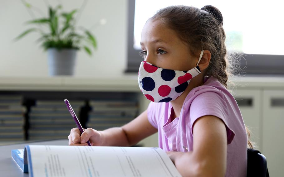 A student at Vogelweh Elementary School listens during a lesson in April 2020. Department of Defense Educational Activity officials announced on Feb. 11, 2021, that schools in Germany will remain in remote instruction through at least Friday, Feb. 19.