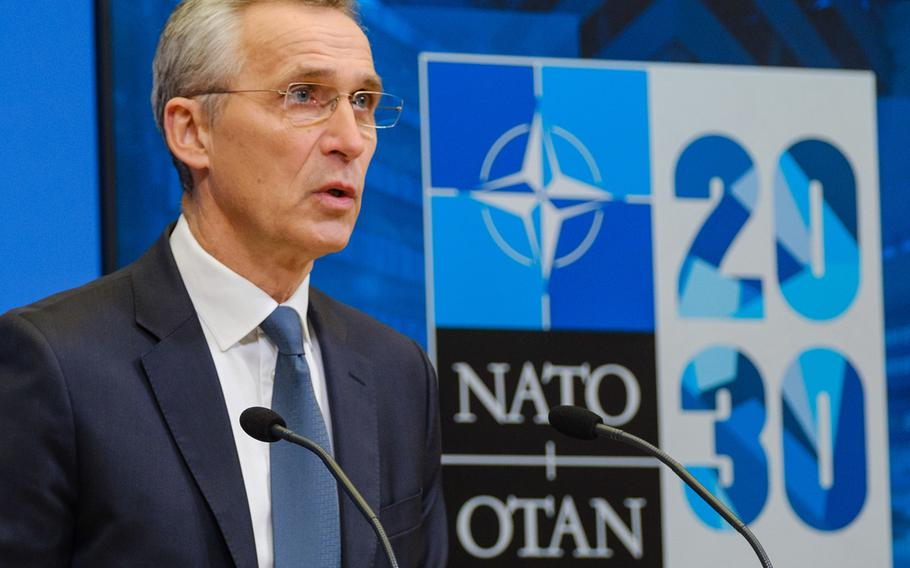 NATO Secretary General Jens Stoltenberg speaks at NATO Headquarters in Brussels, Feb. 15, 2020.