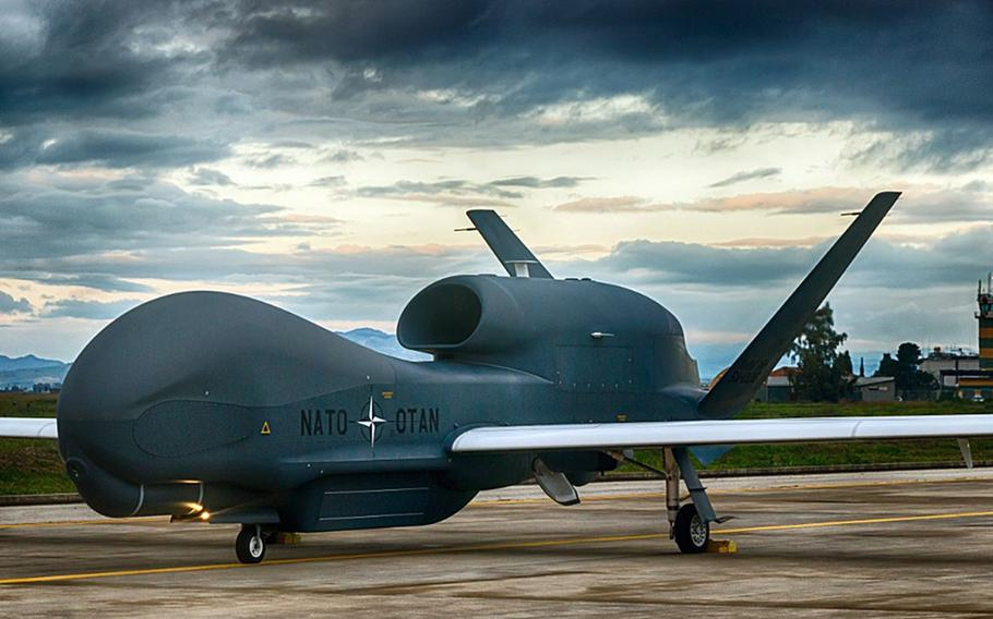 A NATO AGS RQ-4D remotely piloted aircraft at Naval Air Station Sigonella, Italy.