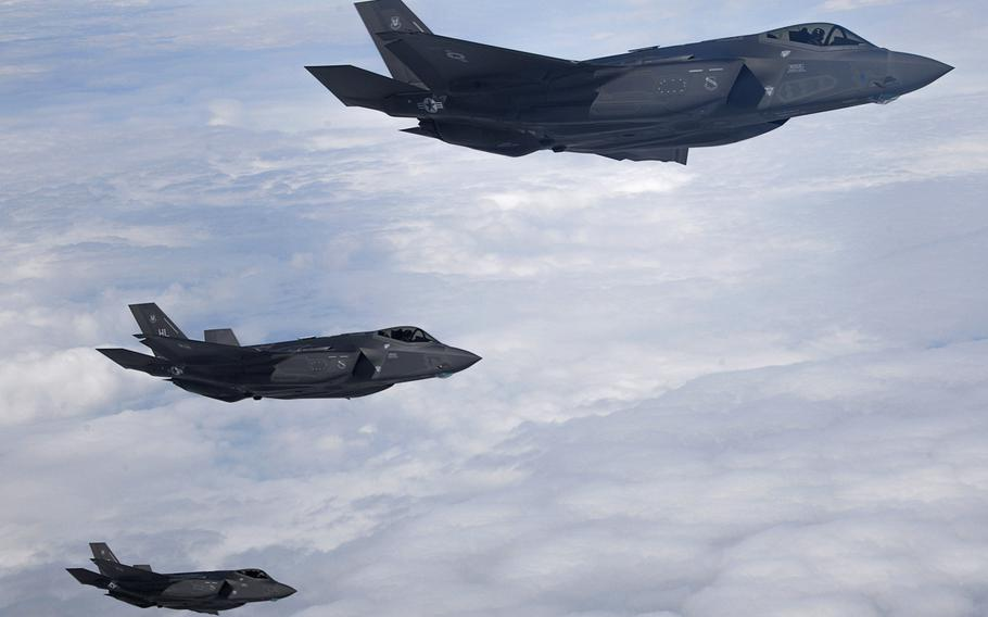 Three F-35A Lightning IIs from the 388th Fighter Squadron, Hill Air Force Base, Utah, fly over England in 2017.