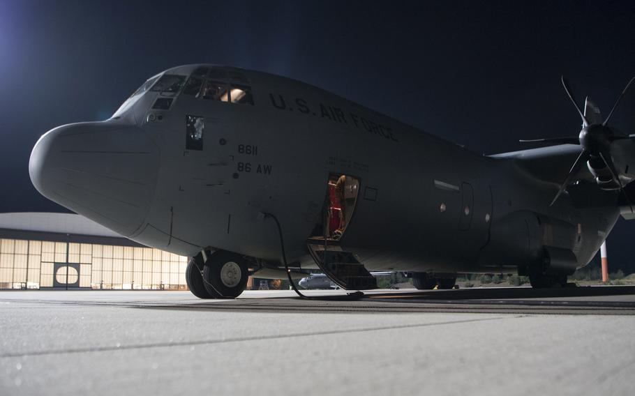 A C-130J Super Hercules aircraft sits on the flight line at Ramstein Air Base, Germany, Sept. 18, 2020. A $21-million accident involving a C-130 Hercules assigned to Ramstein in April was caused by pilot error prior to landing, the Air Force said Feb. 16, 2021.