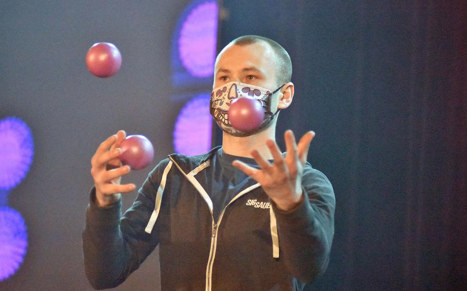 Lucas Tapply has three balls in the air on Tuesday, Feb. 16, 2021, during the initial taping of Aviano's Got Talent at Aviano Air Base, Italy.