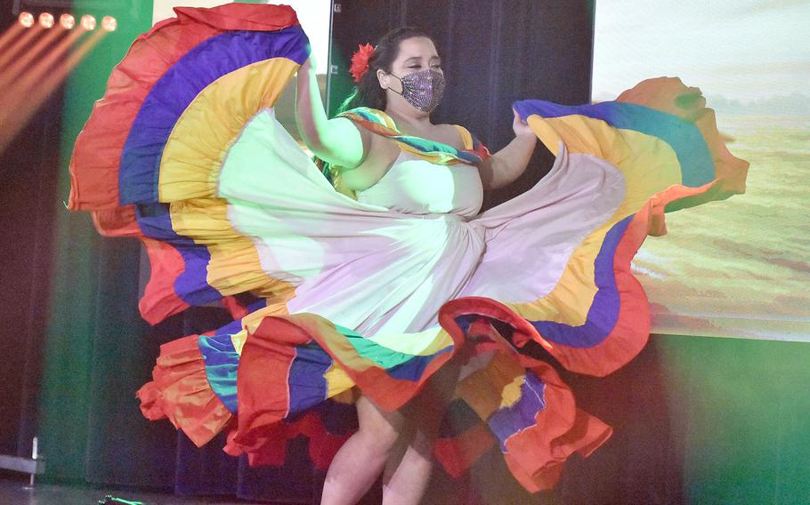 Katherine Martinez twirls while dancing during the taping of the first installment of Aviano's Got Talent on Tuesday, Feb. 16, 2021.