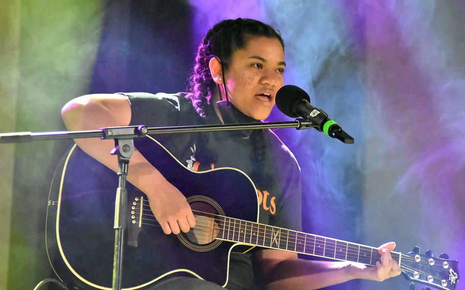 Teisah Kauvaka-Vaaimamao performs ''Pua Kiele'' during taping of the first installment of Aviano's Got Talent on Tuesday, Feb. 16, 2021.