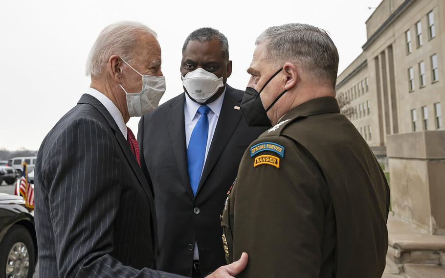 President Joe Biden talks with Defense Secretary Lloyd Austin III and Chairman of the Joint Chiefs of Staff Army Gen. Mark Milley at the Pentagon, Feb. 10, 2021. Austin will participate in his first NATO defense ministerial meeting on Wednesday, Feb. 17.