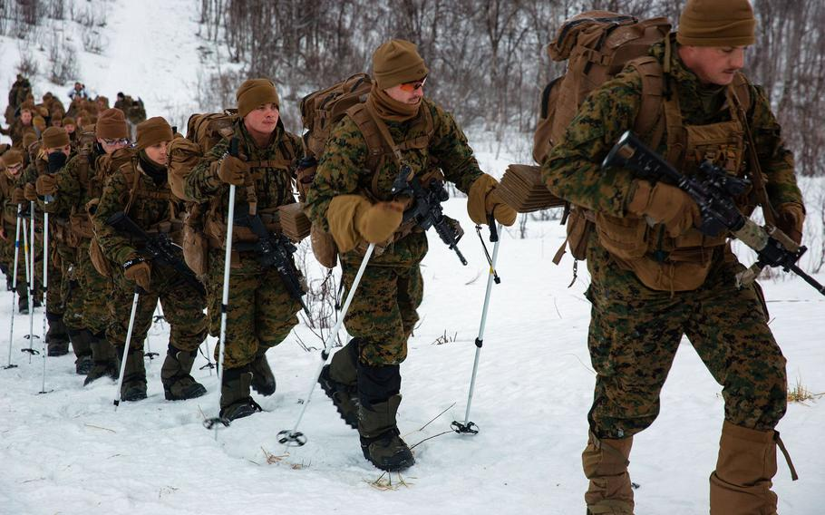 Marines with Marine Rotational Force Europe 21.1 participate in avalanche search and rescue drills in Setermoen, Norway, Feb. 1, 2021. Marines who had traveled to Norway for exercises that were canceled soon after their arrival last month will remain there for training, the service said Feb. 18, 2021.