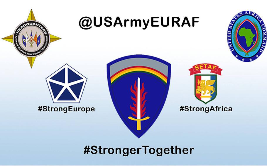 ''Stronger Together'' is the new U.S. Army Europe and Africa   command slogan, replacing the nearly 7-year-old ''Strong Europe,'' the Army announced Friday.