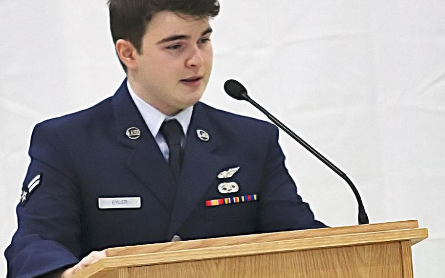 Airman 1st Class James Eyler, a friend and colleague of fallen Tech. Sgt. Michael W. Morris, speaks about his memories with Morris during a ceremony at Aviano Air Base, Italy, Feb. 19, 2021.