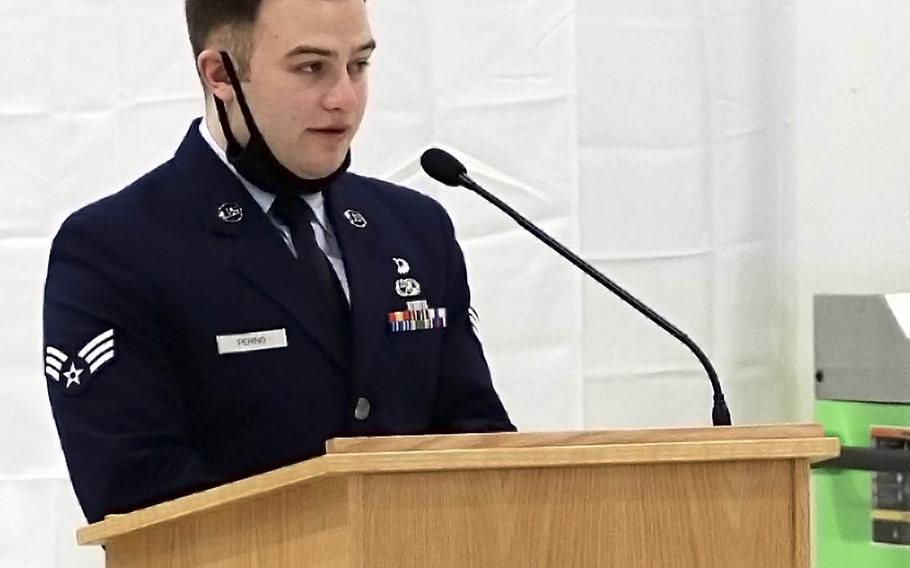 Senior Airman James Perino, a friend and colleague of fallen Tech. Sgt. Michael W. Morris, speaks during a remembrance ceremony at Aviano Air Base, Feb. 19, 2021.
