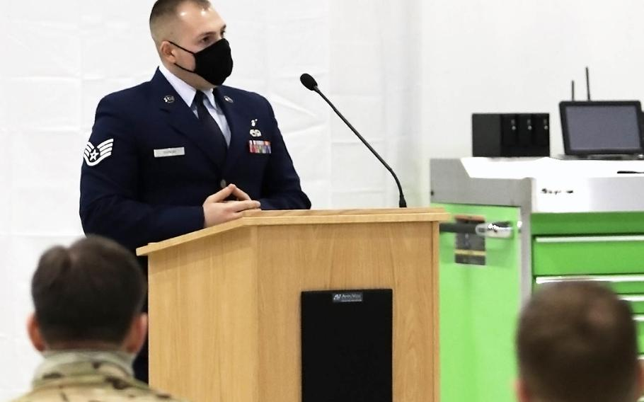 Staff Sgt. Brandon Bainum, a friend and colleague of fallen Tech. Sgt. Michael W. Morris, speaks about his memories with Morris at Aviano Air Base, Italy, Feb. 19, 2021.