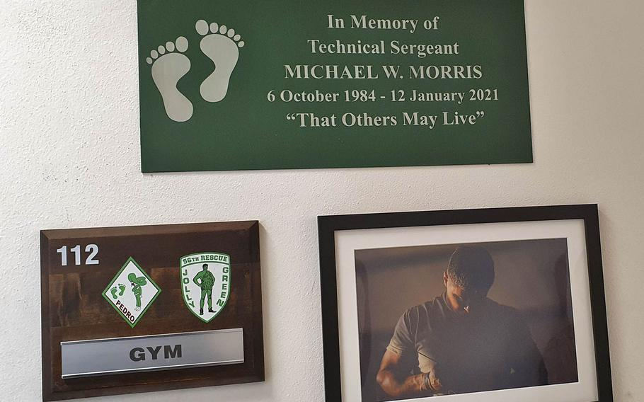 The 56th Helicopter Maintenance Unit's gym, which was dedicated in honor of fallen Tech. Sgt. Michael W. Morris at Aviano Air Base, Italy, Feb. 19, 2021.