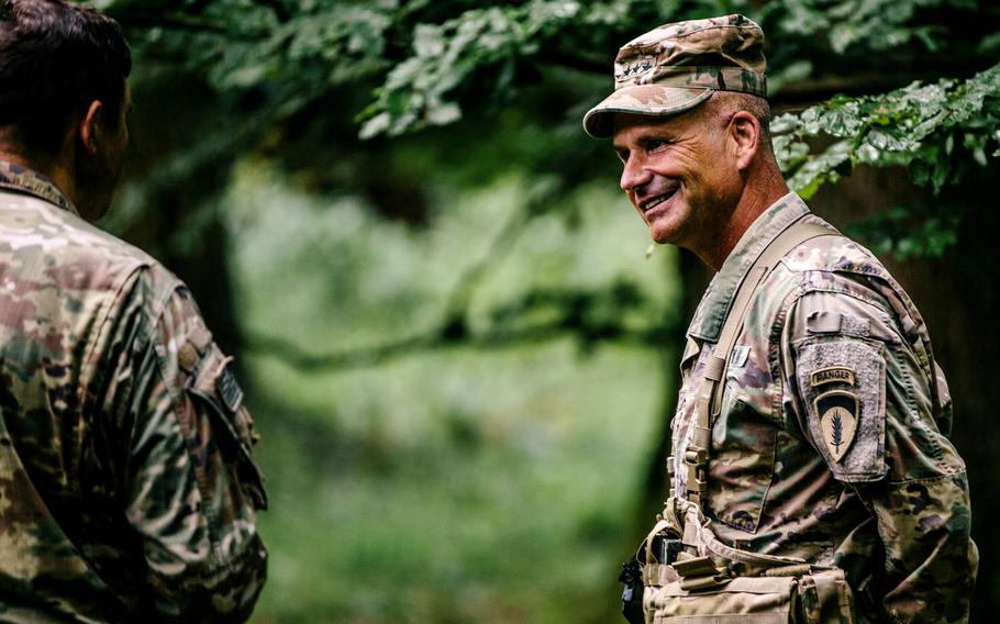 Then-Lt. Gen. Christopher Cavoli, commander of U.S. Army Europe, visits the command staff of 2nd Battalion, 503rd Infantry Regiment, 173rd Airborne Brigade in Hohenfels Training Area, Germany, Aug. 18, 2020. Now a four-star, Cavoli is in charge of the consolidated U.S. Army Europe and Africa command.