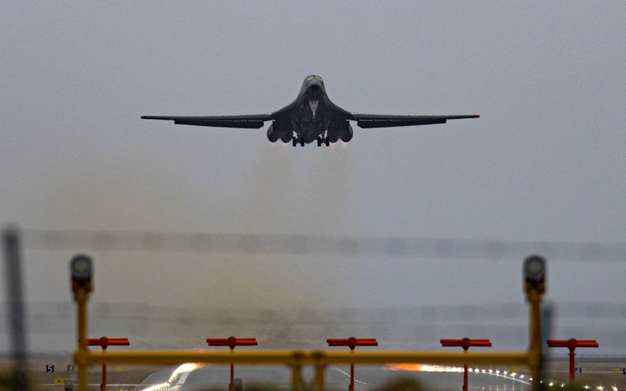 A B-1B Lancer assigned to the 9th Expeditionary Bomb Squadron takes off from Orland Air Station, Norway, March 3, 2021.