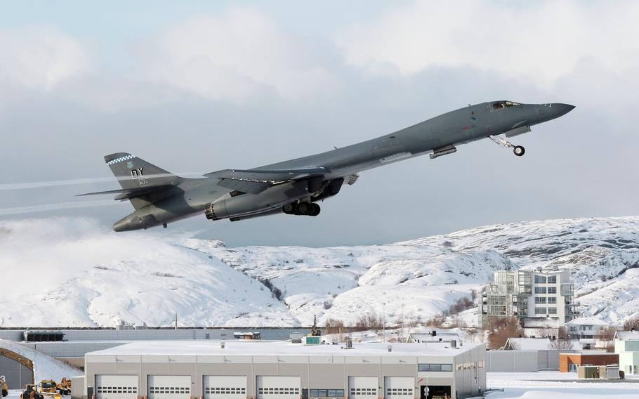 A U.S. Air Force B-1B Lancer takes off from Bodo Air Base, Norway. March 8, 2021 marked the first time a B-1 landed above the Arctic Circle.