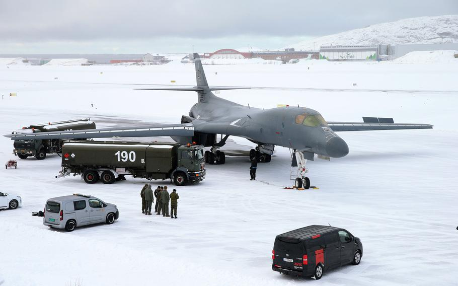 A U.S. Air Force B-1B Lancer is fueled after landing at Bodo Air Base, Norway, March 8, 2021. It was the first time a B-1 has landed above the Arctic Circle.