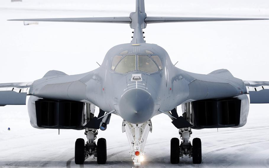 A U.S. Air Force B-1B Lancer sits on the tarmac at Bodo Air Base, Norway, March 8, 2021, after making the first landing of a B-1 above the Arctic Circle.