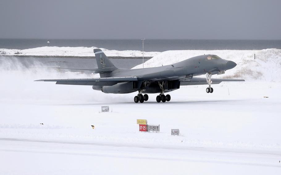 A U.S. Air Force B-1B Lancer lands at Bodo Air Base, Norway, March 8, 2021, making it the first time a B-1 has landed above the Arctic Circle.
