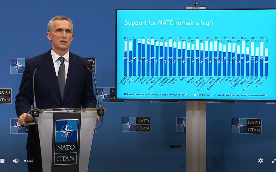A screenshot of NATO Secretary-General Jens Stoltenberg, March 16, 2021, during the release of the alliance's 2020 annual report. It included a poll commissioned by NATO on attitudes toward the 30-member security pact.