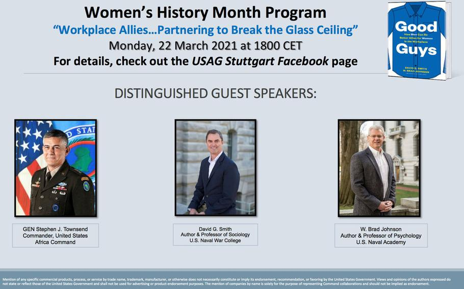 A poster featuring three male speakers for a Women's History Month program at U.S. Army Garrison Stuttgart drew criticism from community members and an apology from the garrison's commander. The program is also scheduled to include senior female officials.