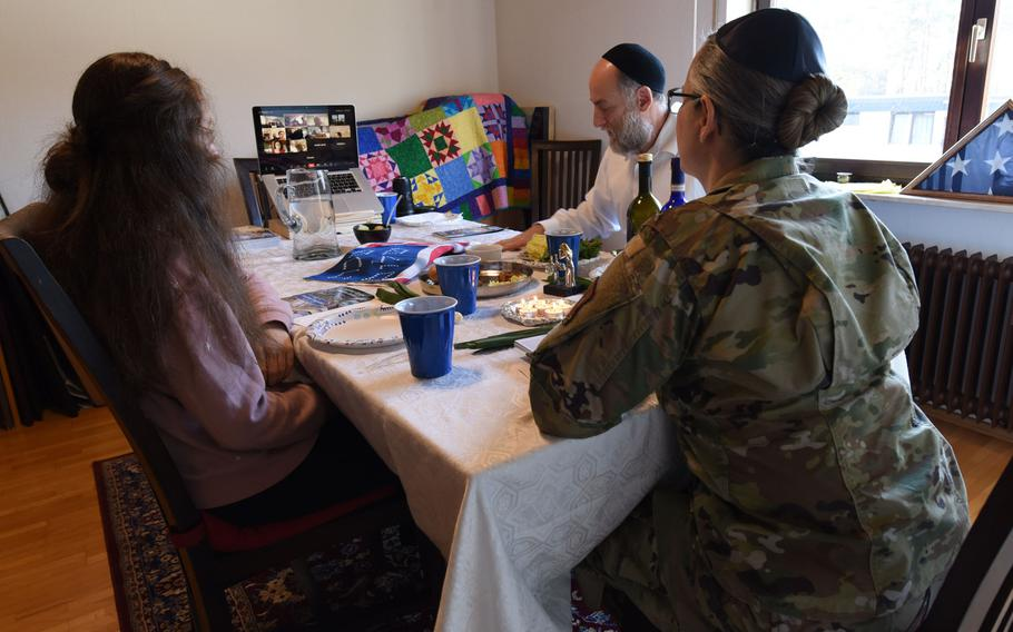U.S. Air Force Maj. Sarah Schechter, 86th Airlift Wing staff chaplain, and her family lead a virtual Passover Seder from their home in Kaiserslautern, Germany, in 2020. Schechter had hoped to hold a small, in-person Seder this year, but again opted for a virtual service.