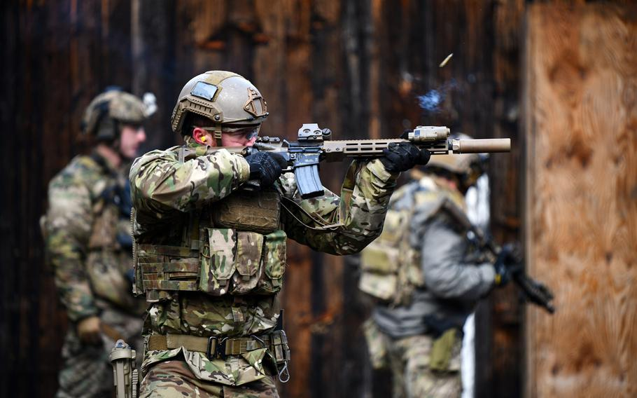 A U.S. soldier assigned to 10th Special Forces Group (Airborne) engages a target at a shooting range near Stuttgart, Germany, Jan. 28, 2020. Blood lead levels in special operations troops fell after the Army made several changes at firing ranges, a military medical study found.