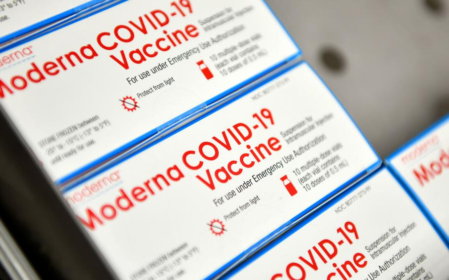 Boxes of Moderna COVID-19 vaccines at Aviano Air Base, Italy, in January 2021. The vaccination campaign for the U.S. military in Europe is lagging as the community waits to receive more vaccine.