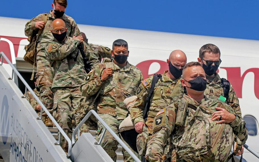 Soldiers of the 101st Airborne Division arrive at Albrecht Duerer Airport in Nuremberg, Germany in support of Operation Atlantic Resolve in June 2020. Defense Secretary Lloyd Austin announced during a visit to Berlin on April 13, 2021, that the U.S. will base an additional 500 troops in Germany.