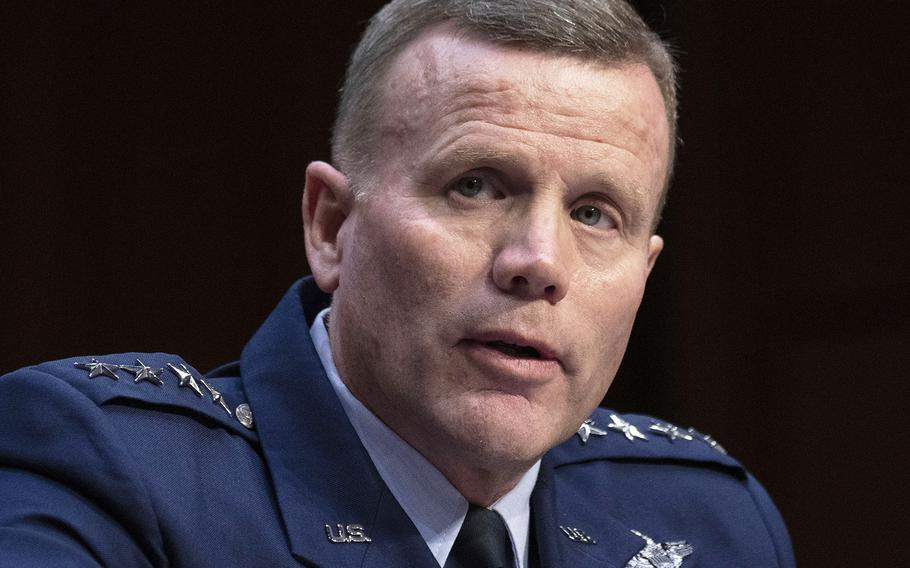 """Gen. Tod D. Wolters, seen here at a Senate Armed Services Committee hearing in February 2020, said Tuesday tat while his command remains """"very, very vigilant,"""" Russia's rapid buildup in recent weeks is a great concern."""