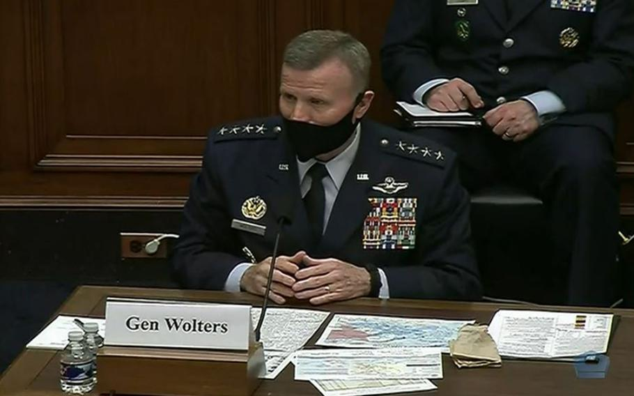 U.S. European Command's Gen. Tod D. Wolters testifies before a U.S. House Armed Services Committee hearing April 15, 2021. The Defense Department has been slow to send coronavirus vaccines to Europe, but Wolters said he expected a much larger supply in the coming weeks.