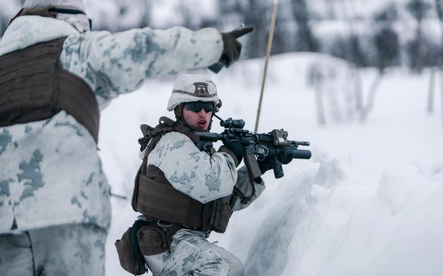 U.S. Marines with Marine Rotational Force Europe 21.1 ), Marine Forces Europe and Africa, conduct a platoon live-fire range in Blatind, Norway, March 22, 2021. The U.S. signed a revised defense cooperation agreement with Norway April 16, 2021, which will allow the U.S. to build facilities at four bases in the country.