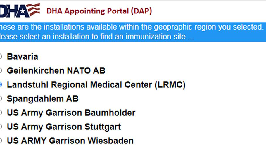 The Defense Health Agency's portal for making coronavirus vaccination appointments list several U.S. bases in Germany. Some U.S. military bases opened vaccinations to all tiers of eligible beneficiaries Monday, but few had available appointments.