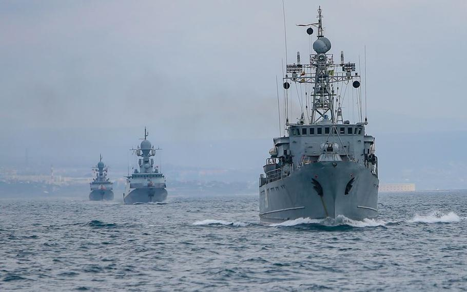 Russian Black Sea fleet ships go to sea during the winter training period. The Pentagon says Russia's military presence around Ukraine is now larger than the force used during Moscow's 2014 invasion of that country.