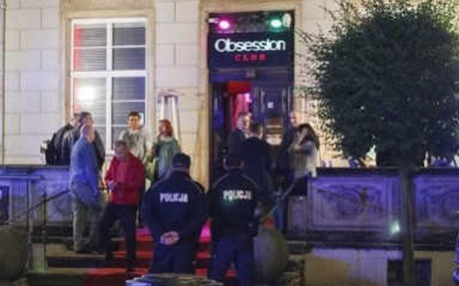 Club Obsession, a strip club in the city center of Gdansk, Poland, is shown in an undated photo. An Army investigation determined that 101st Combat Aviation Battalion soldiers went in September to the off-limits club, where the battalion executive officer was likely drugged and charged exorbitant amounts of money before going missing until the next day.