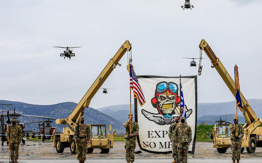 Members of the ''No Mercy'' 1st Battalion, 101st Combat Aviation Brigade, participate in a change of command ceremony in Stefanovikio, Greece, Nov. 11, 2020. About 40 members of the battalion went on an official trip in September to Gdansk, Poland, where several leaders went to an off-limits strip club and a major who was likely drugged went missing until the next day, an Army investigation found.