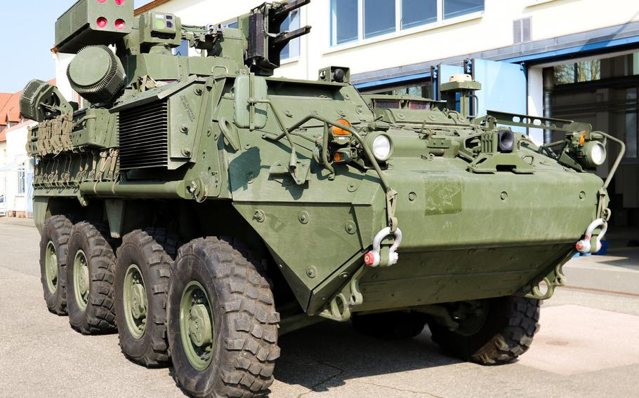 The 5th Battalion, 4th Air Defense Artillery Regiment, a unit under the 10th Army Air and Missile Defense Command based in Ansbach, Germany, is the first to field the Maneuver Short Range Air Defense system on its Stryker vehicles.