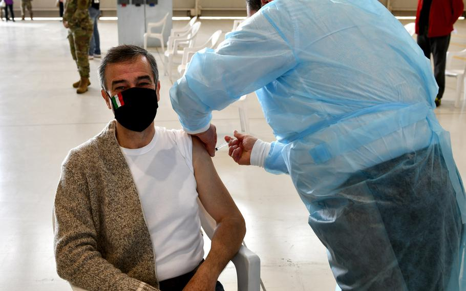 Roberto Chipolat, 31st Civil Engineer Squadron heating, ventilation and air conditioning flight supervisor, receives the Moderna COVID-19 vaccine at Aviano Air Base, Italy, April 30, 2021. The base opened vaccinations to local national employees aged 60 and older on April 30, 2021.