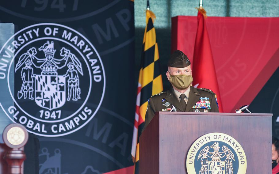 Army Gen. Christopher Cavoli, the commander of U.S. Army Europe and Africa, was the keynote speaker for the class of 2021 University of Maryland Global Campus Europe commencement on Saturday, May 1, 2021, in Wiesbaden, Germany.