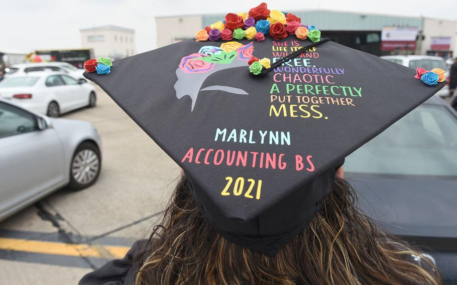 Marlynn Cruz, an Air Force master sergeant at Ramstein Air Base, Germany, decorated her graduation cap for the University of Maryland Global Campus Europe's commencement ceremony for the class of 2021 on Saturday, May 1, 2021.