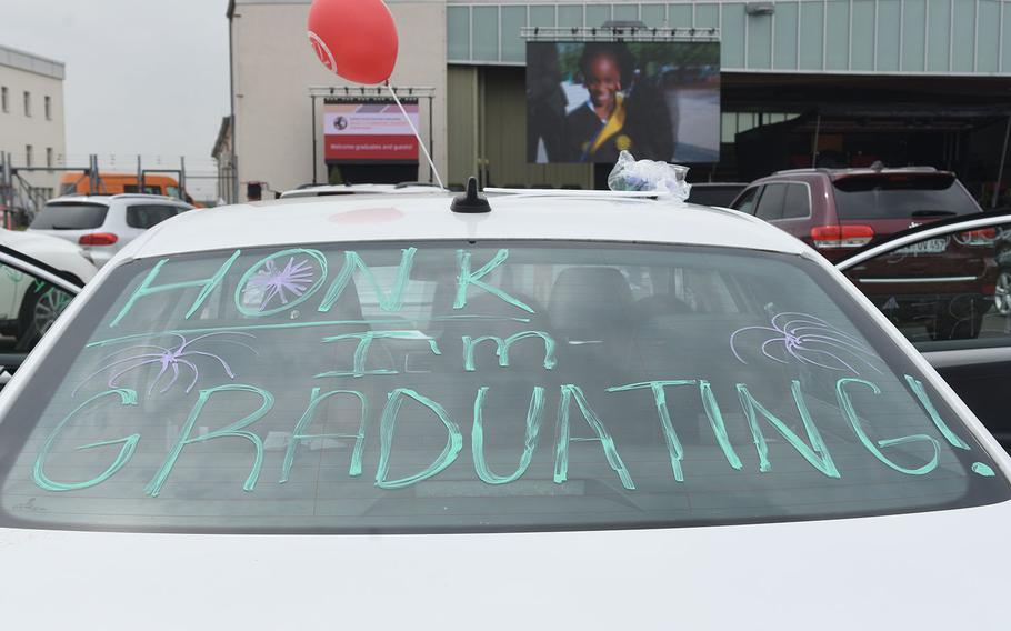 Some cars were decorated with messages and balloons for the University of Maryland Global Campus Europe's class of 2021 drive-in commencement ceremony on Clay Kaserne in Wiesbaden, Germany. May 1, 2021.