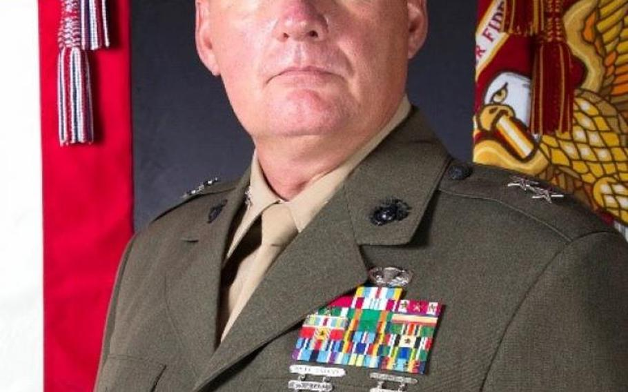 Maj. Gen. Tracy W. King, who previously served as director of expeditionary warfare in the office of the chief of naval operations, took command of Marines in Europe and Africa, Thursday, May 6, 2021, in Stuttgart, Germany.