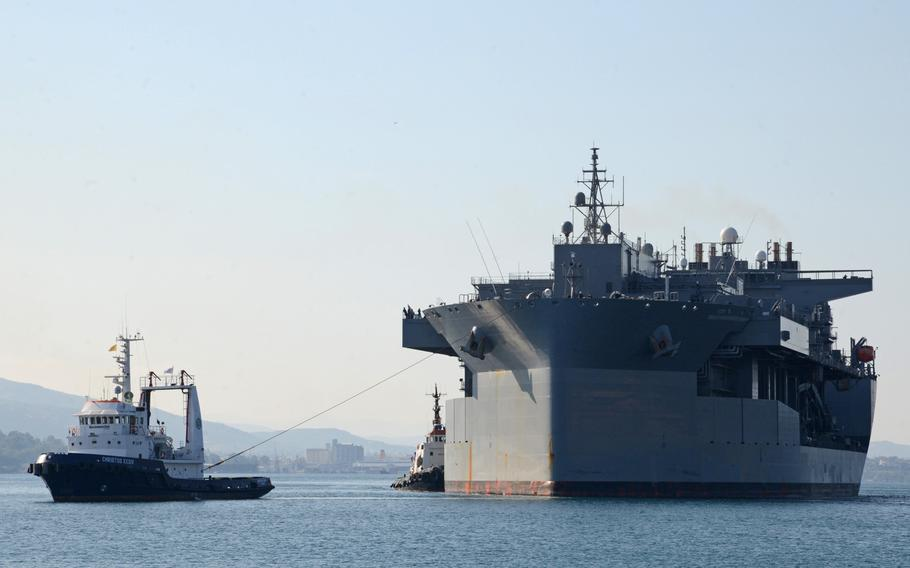 The Expeditionary Sea Base USS Hershel ''Woody'' Williams arrives at Souda Bay, Greece, for a port call Nov. 16, 2020. The U.S. and Greece will likely update a bilateral security pact this summer in a deal that could allow for more U.S. military activity in the region, Greek Defense Minister Nikos Panagiotopoulos said this week.