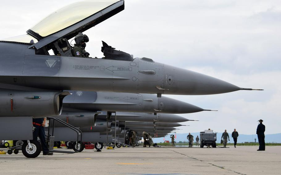 U.S. Air Force airmen prepare to launch F-16C Fighting Falcons at Campia Turzii, Romania, in 2019, in support of Operation Atlantic Resolve. The Air Force has plans to spend $152 million on upgrades to the base, including a ''dangerous cargo pad'' to support aircraft with up to 30,000 pounds in explosives.