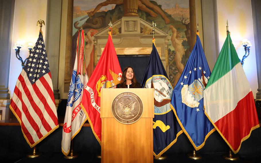 Second lady Karen Pence addresses military spouses stationed in Italy about the importance of their role in America's strength on Friday, Jan 24, 2020, at the U.S. Embassy in Rome.