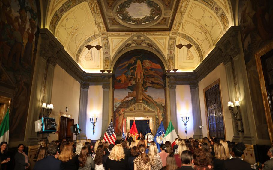 Karen Pence addresses  military spouses stationed in Italy about the importance of their role in America's strength Friday, Jan 24 2020, at the U.S. Embassy in Rome.