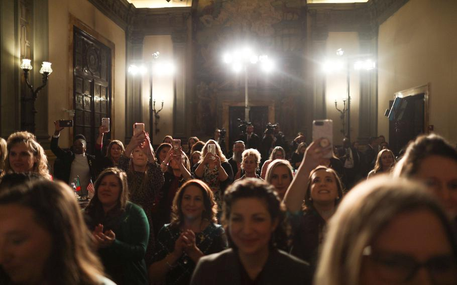 Military spouses representing the Army, Navy and Air Force traveled from northern and southern Italy to see Karen Pence at the U.S. Embassy in Rome on Friday, Jan. 24, 2020.
